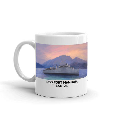 USS Fort Mandan LSD-21 Coffee Cup Mug Left Handle