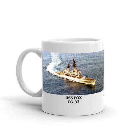 USS Fox CG-33 Coffee Cup Mug Left Handle