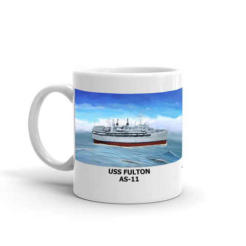 USS Fulton AS-11 Coffee Cup Mug Left Handle