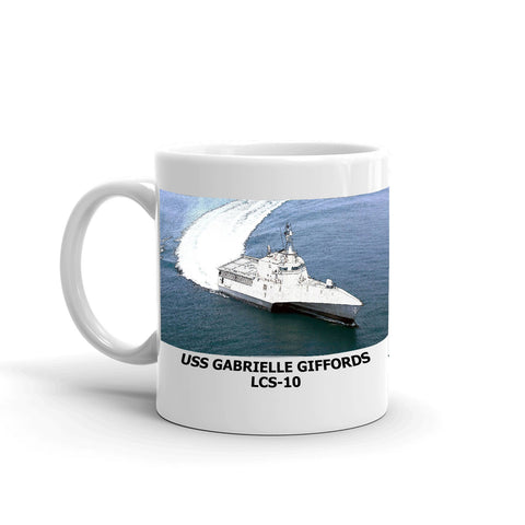 USS Gabrielle Giffords LCS-10 Coffee Cup Mug Left Handle