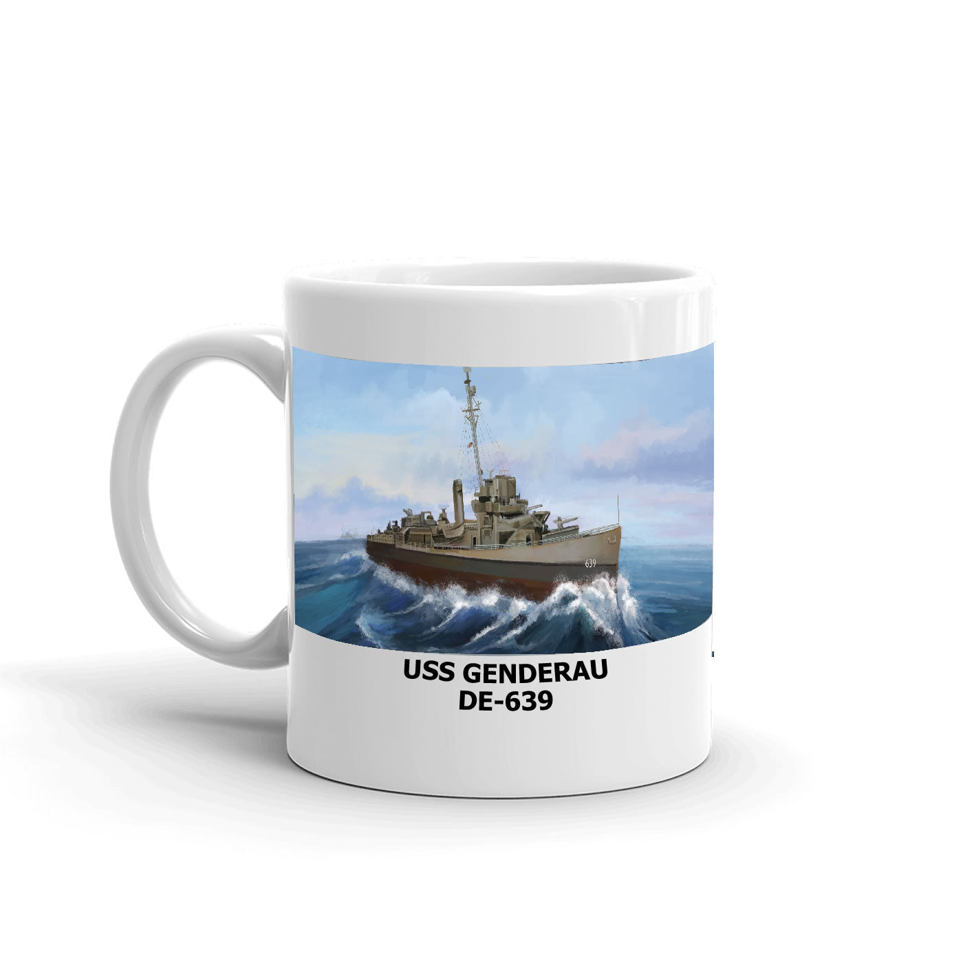 USS Genderau DE-639 Coffee Cup Mug Left Handle