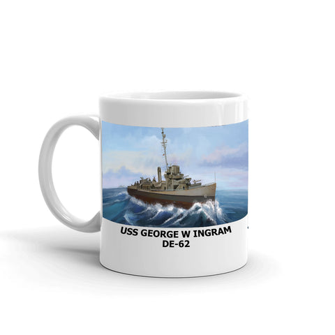 USS George W Ingram DE-62 Coffee Cup Mug Left Handle