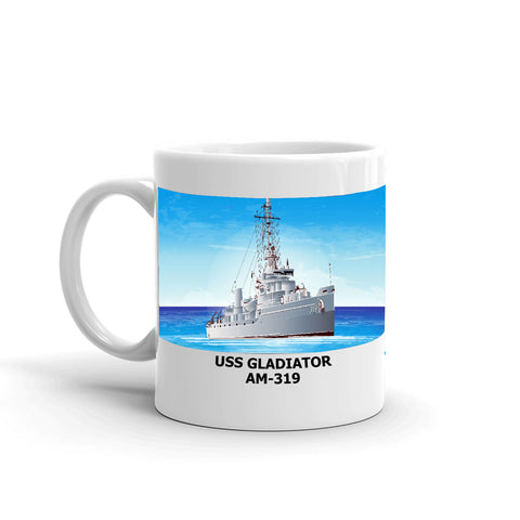 USS Gladiator AM-319 Coffee Cup Mug Left Handle