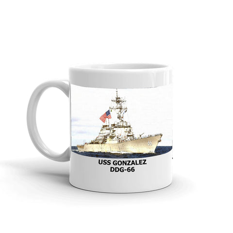 USS Gonzalez DDG-66 Coffee Cup Mug Left Handle