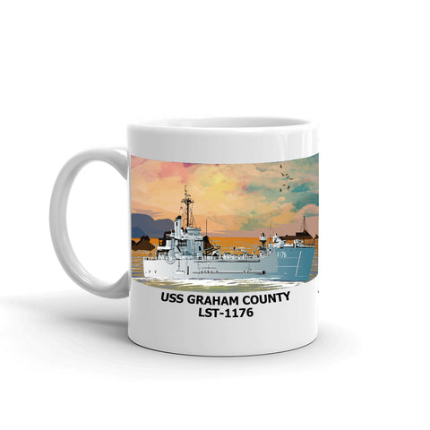 USS Graham County LST-1176 Coffee Cup Mug Left Handle