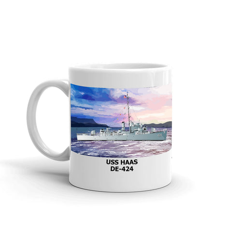 USS Haas DE-424 Coffee Cup Mug Left Handle