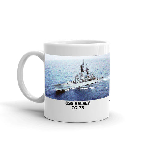 USS Halsey CG-23 Coffee Cup Mug Left Handle