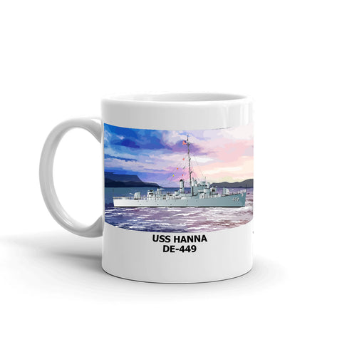 USS Hanna DE-449 Coffee Cup Mug Left Handle