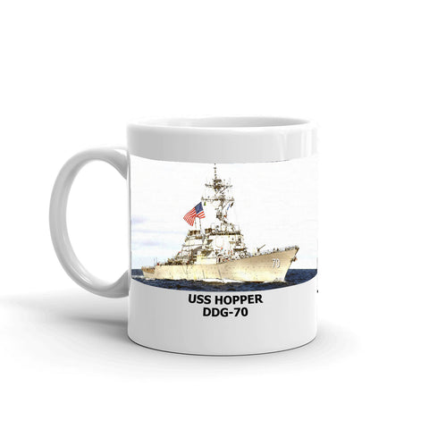 USS Hopper DDG-70 Coffee Cup Mug Left Handle