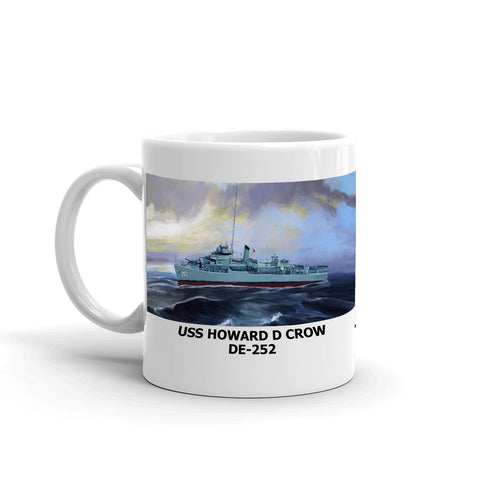 USS Howard D Crow DE-252 Coffee Cup Mug Left Handle