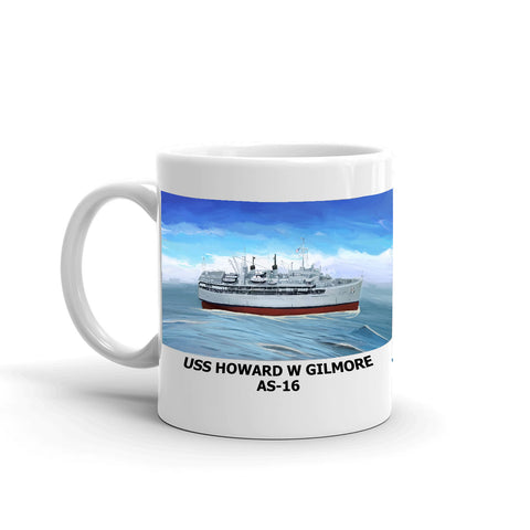 USS Howard W Gilmore AS-16 Coffee Cup Mug Left Handle