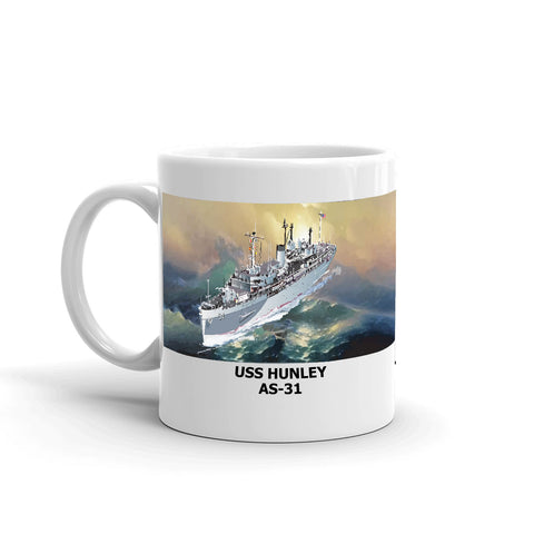 USS Hunley AS-31 Coffee Cup Mug Left Handle