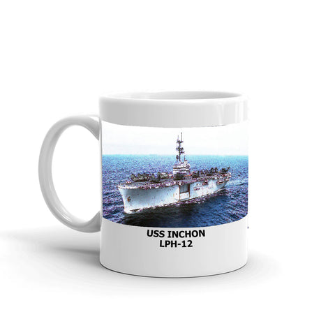 USS Inchon LPH-12 Coffee Cup Mug Left Handle