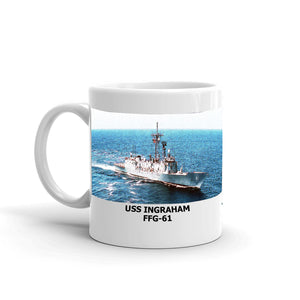 USS Ingraham FFG-61 Coffee Cup Mug Left Handle