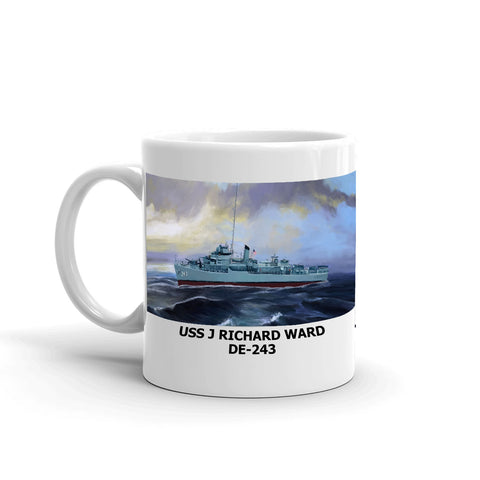 USS J Richard Ward DE-243 Coffee Cup Mug Left Handle
