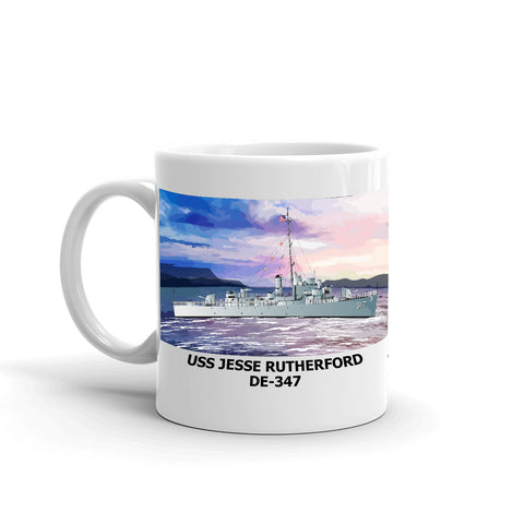 USS Jesse Rutherford DE-347 Coffee Cup Mug Left Handle