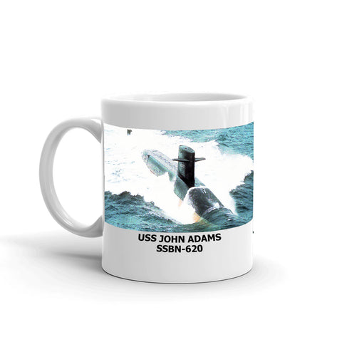 USS John Adams SSBN-620 Coffee Cup Mug Left Handle