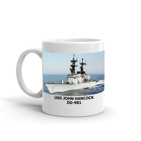 USS John Hancock DD-981 Coffee Cup Mug Left Handle