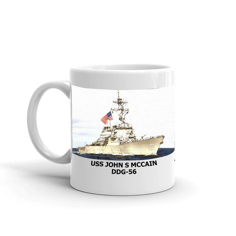 USS John S Mccain DDG-56 Coffee Cup Mug Left Handle