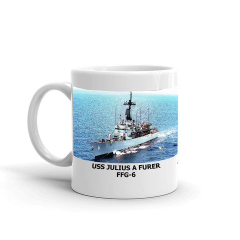 USS Julius A Furer FFG-6 Coffee Cup Mug Left Handle