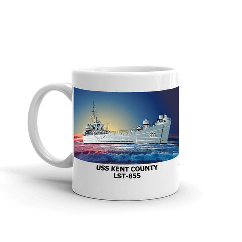 USS Kent County LST-855 Coffee Cup Mug Left Handle