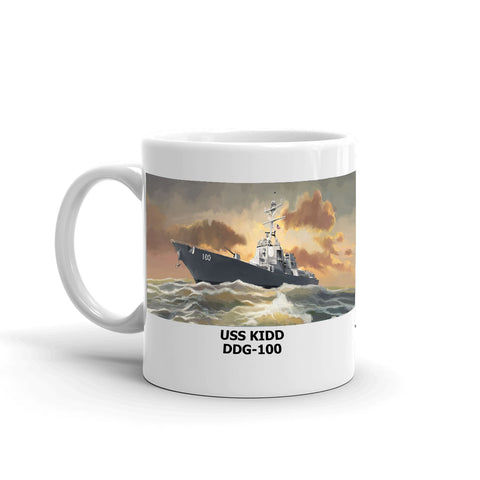USS Kidd DDG-100 Coffee Cup Mug Left Handle
