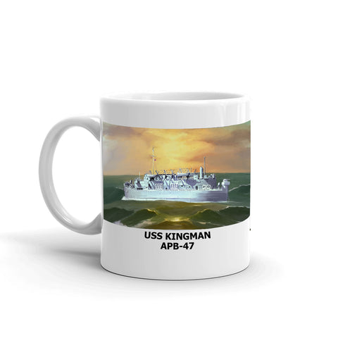 USS Kingman APB-47 Coffee Cup Mug Left Handle
