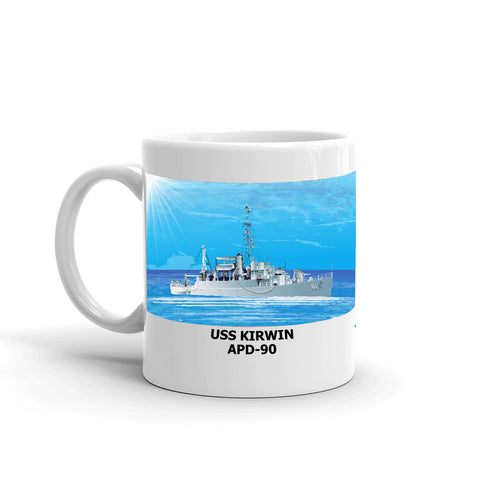 USS Kirwin APD-90 Coffee Cup Mug Left Handle
