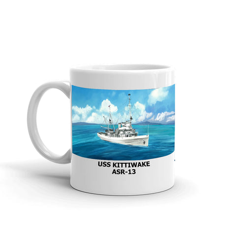 USS Kittiwake ASR-13 Coffee Cup Mug Left Handle