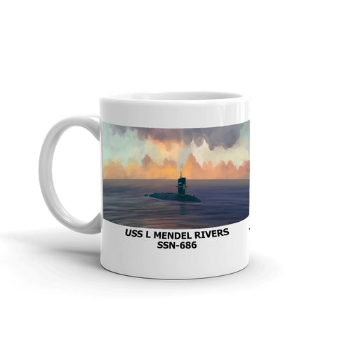 USS L Mendel Rivers SSN-686 Coffee Cup Mug Left Handle