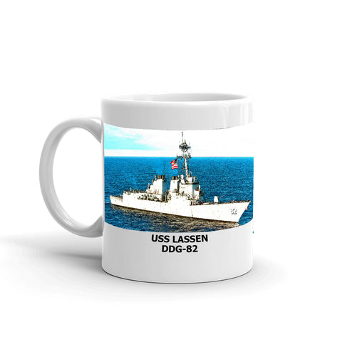 USS Lassen DDG-82 Coffee Cup Mug Left Handle