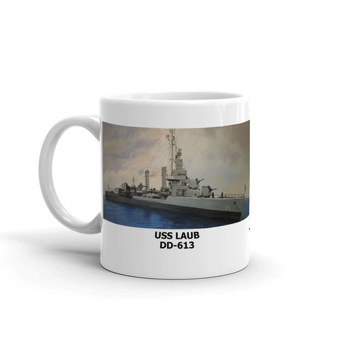 USS Laub DD-613 Coffee Cup Mug Left Handle