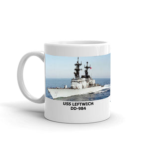 USS Leftwich DD-984 Coffee Cup Mug Left Handle