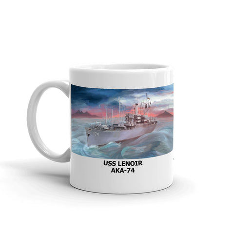 USS Lenoir AKA-74 Coffee Cup Mug Left Handle