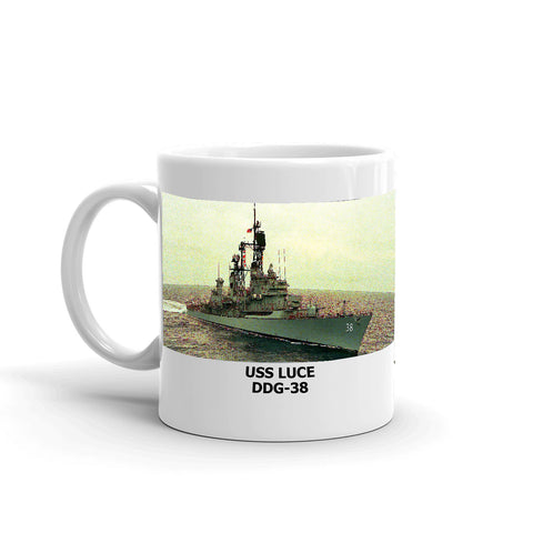 USS Luce DDG-38 Coffee Cup Mug Left Handle