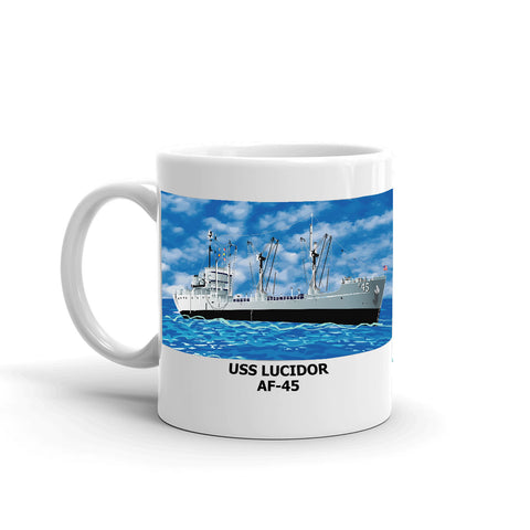 USS Lucidor AF-45 Coffee Cup Mug Left Handle