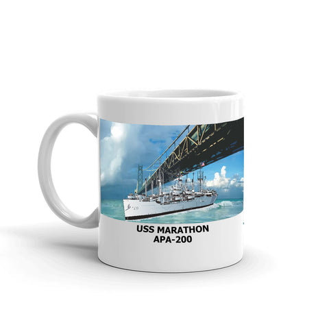 USS Marathon APA-200 Coffee Cup Mug Left Handle