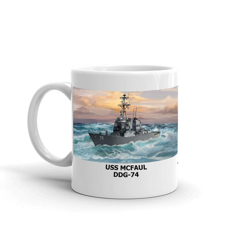 USS Mcfaul DDG-74 Coffee Cup Mug Left Handle