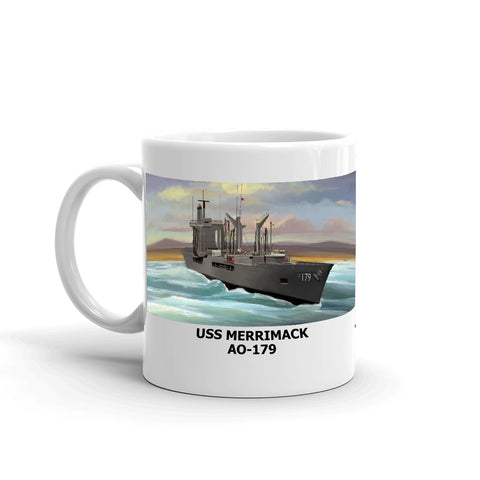 USS Merrimack AO-179 Coffee Cup Mug Left Handle