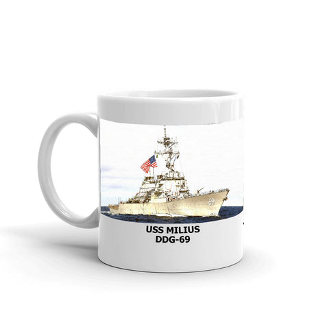 USS Milius DDG-69 Coffee Cup Mug Left Handle