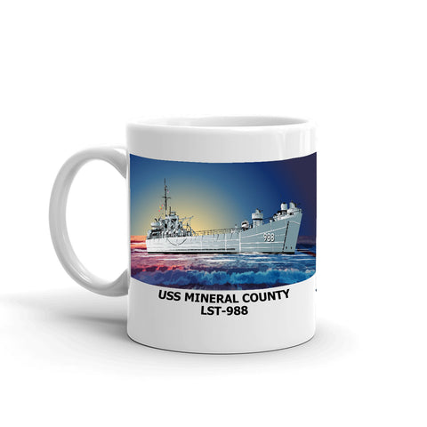 USS Mineral County LST-988 Coffee Cup Mug Left Handle
