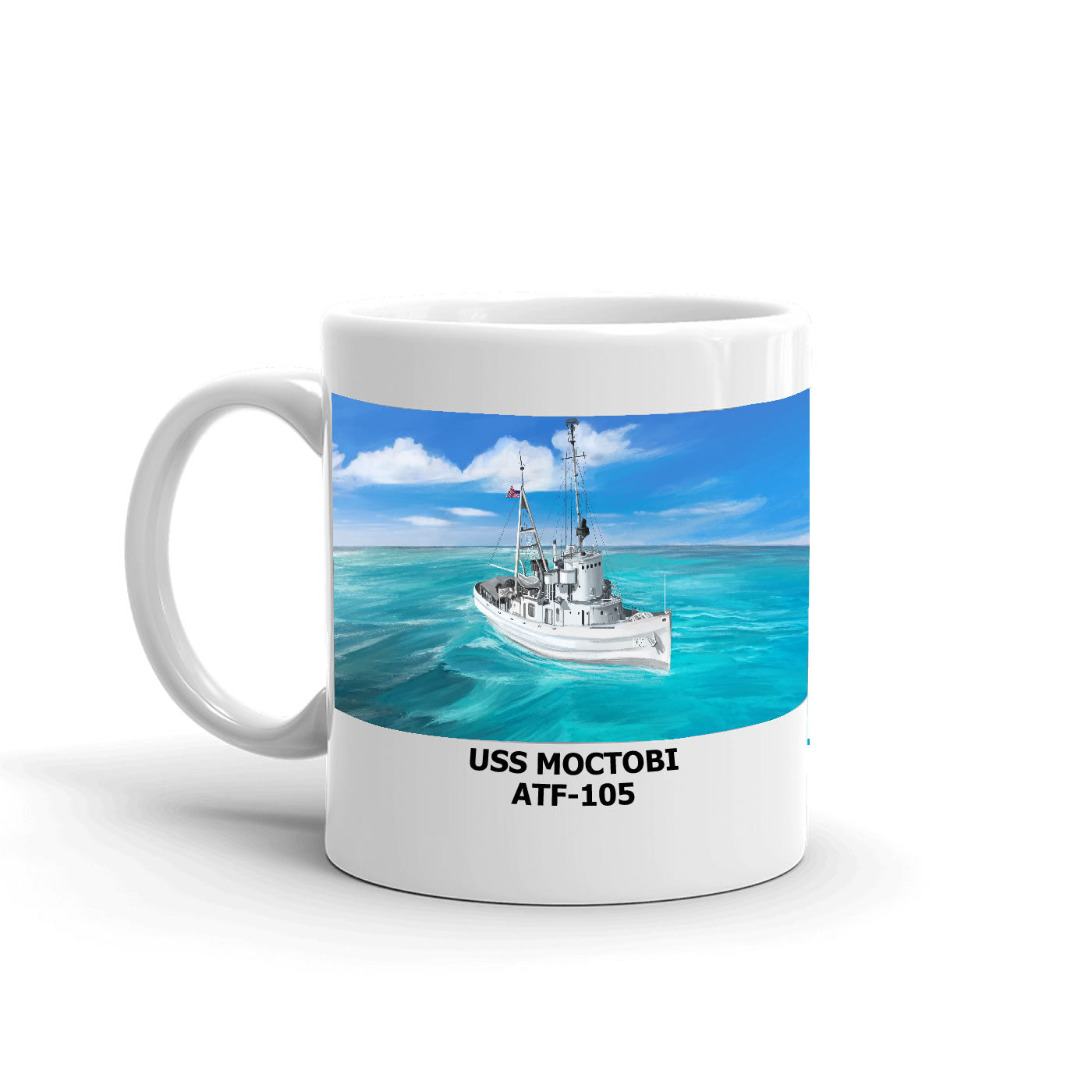 USS Moctobi ATF-105 Coffee Cup Mug Left Handle