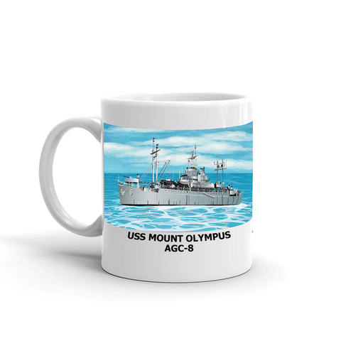 USS Mount Olympus AGC-8 Coffee Cup Mug Left Handle