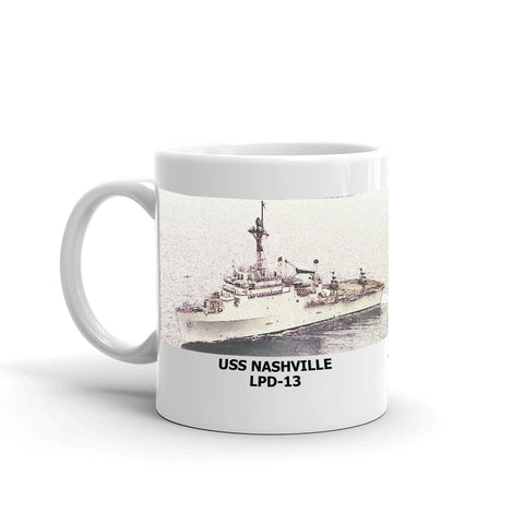 USS Nashville LPD-13 Coffee Cup Mug Left Handle