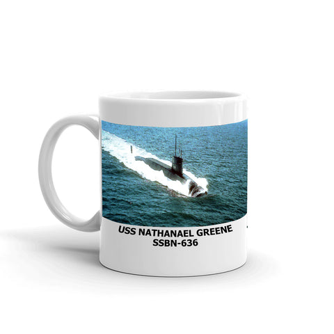 USS Nathanael Greene SSBN-636 Coffee Cup Mug Left Handle