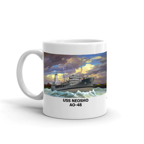 USS Neosho AO-48 Coffee Cup Mug Left Handle
