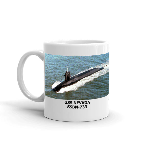 USS Nevada SSBN-733 Coffee Cup Mug Left Handle