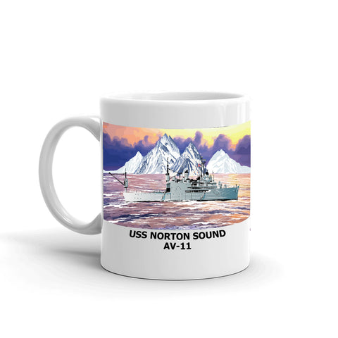 USS Norton Sound AV-11 Coffee Cup Mug Left Handle