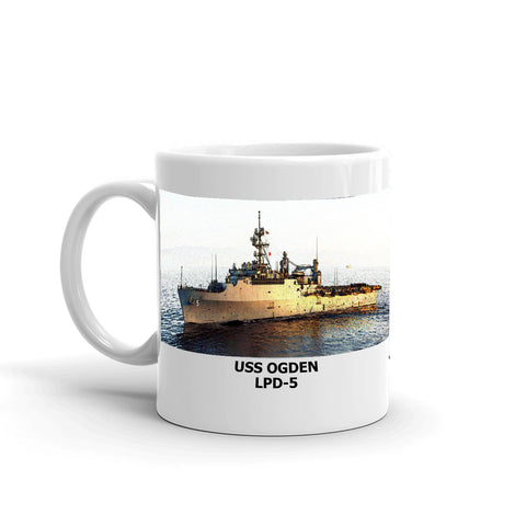 USS Ogden LPD-5 Coffee Cup Mug Left Handle