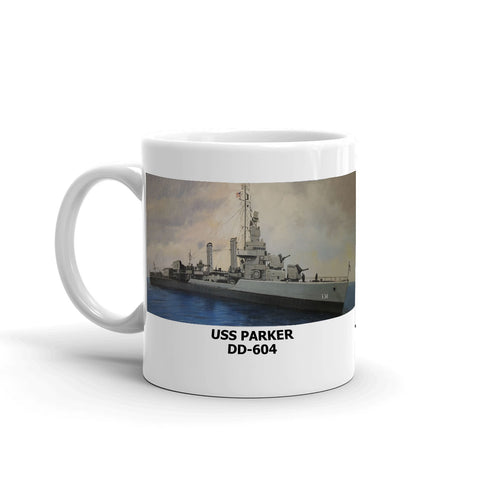 USS Parker DD-604 Coffee Cup Mug Left Handle